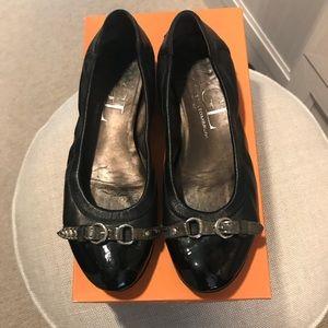 AGL Cap Toe Ballet Flats black leather